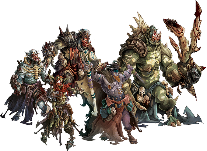 The Green Horde: Orc Walker, Goblin Runner, Orc Fatty, Orc Necromancer and Orc Abomination.