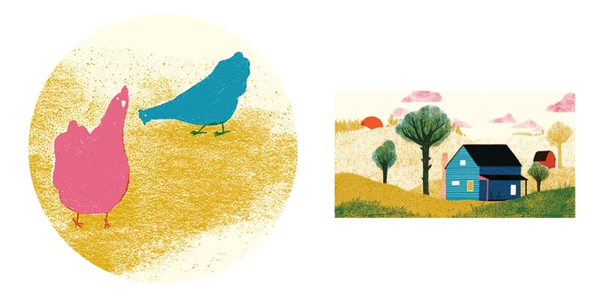 Sticker designs! The chicken sticker will be 3x3 in. and the farmhouse sticker will be 2x4 in.