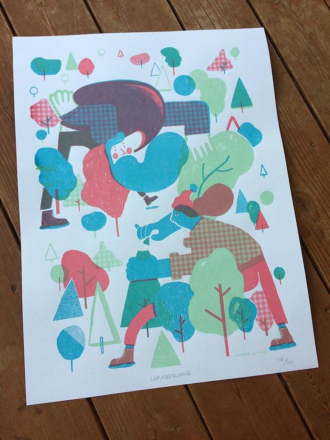 18x24 in. 3-color Lumberjane screen print