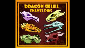 Dragon Skull Enamel Pins