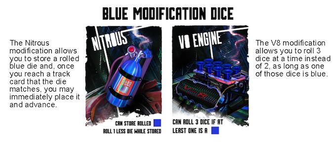 Blue Modification Dice cards