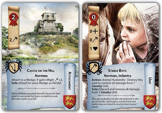 Castle on the Hill, and Stable Boys cards with their solo specific rules