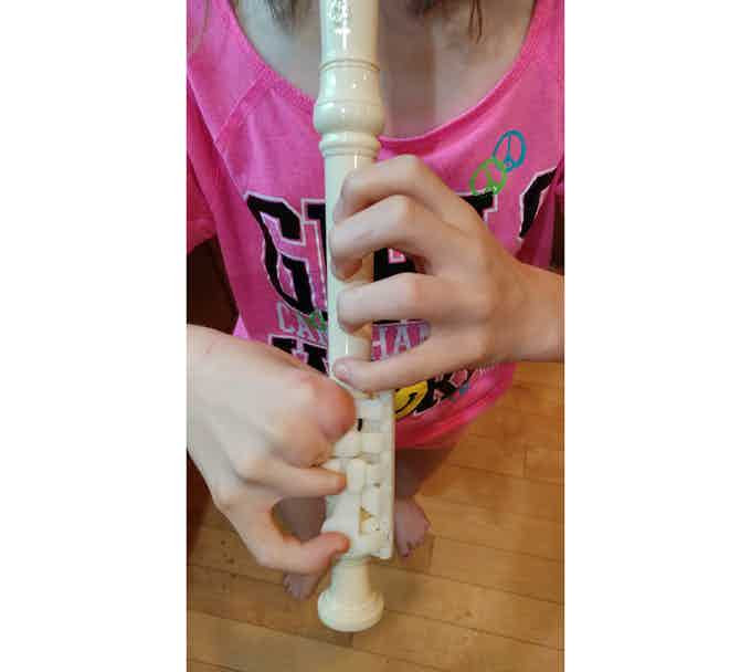 """""""I had a lot of fun learning how to play the notes and it was pretty easy for me to do with the cool key for my Lucky Fin hand.   I never thought I would be able to play a recorder and it made me feel really good that I was able to play a song!"""""""