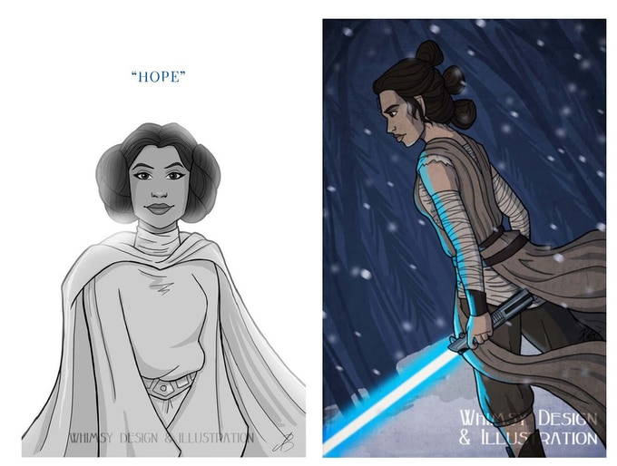 Force-Wielder post card pack from Whimsy Design & Illustration (exclusive Looking for Leia design concept art shown below!)