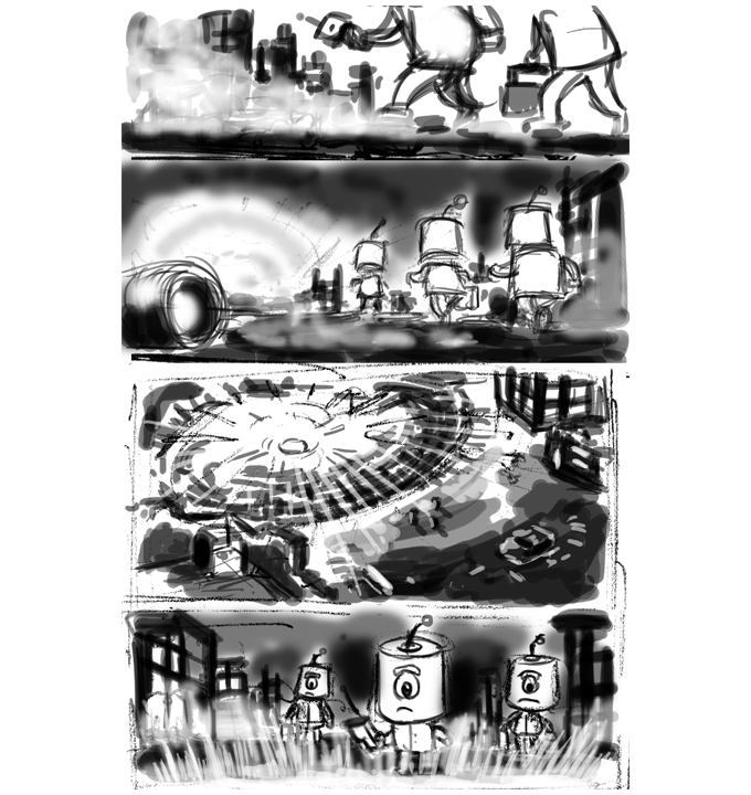 (Rough draft sketching for comic story)