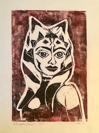 Ahsoka Lives limited edition hand printed lino cut