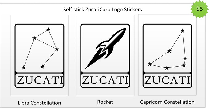 Donate just $5 to help support ZucatiCorp and pick one of three company logo stickers!