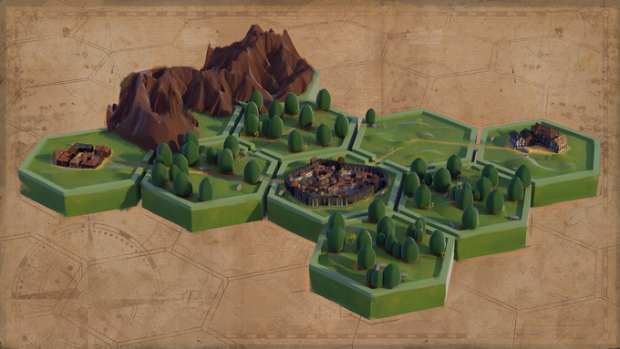 An early concept showing the hex-based world map. The in game map will use the newer art style.