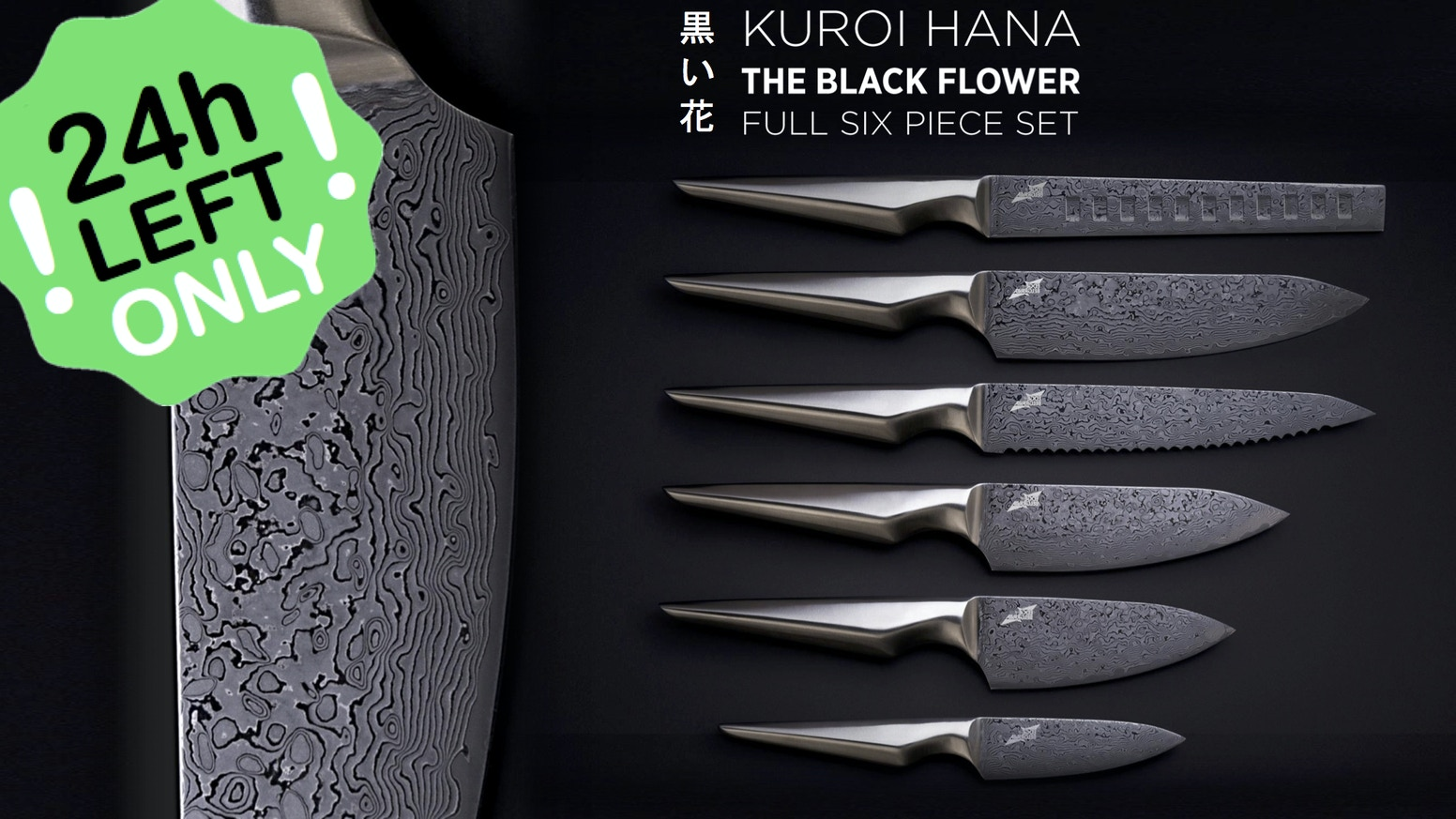 Kuroi Hana is the fusion of London design with premium Japanese AUS-10 steel. The dark floral pattern is unique to each blade.