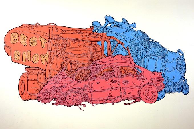 Click for more car-crash wall drawings
