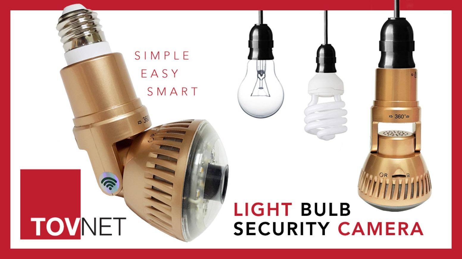 Tovnet worlds first light bulb wifi security camera by tovnet easy and simple solution to installing a high tech wifi enabled security system its as aloadofball Images