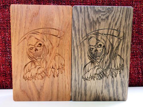 Wood stains (left to right); Teak, Dark Oak