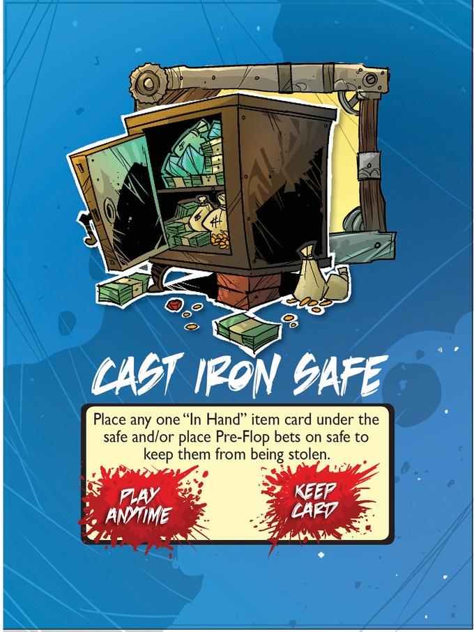 item card, cast-iron safe