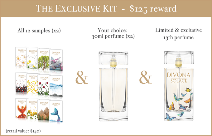 Comes with (3) votes on a care package. Experience the samples and, after deciding which fragrances you like, we'll ship you (2) 30ml bottles of your choice. You can also give this experience to someone else with the second sample kit in this reward!
