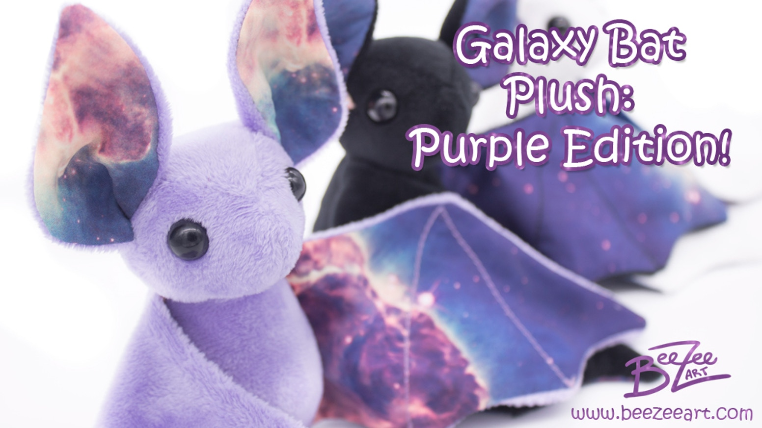Bring home a bit of galaxy you can cuddle, now in color! Purple galaxy bat plushies are ready to join the galaxy bat family. Pre-Order at www.beezeeart.com!