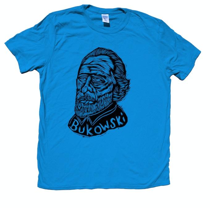 Woodblock Printed T-Shirt Bukowski