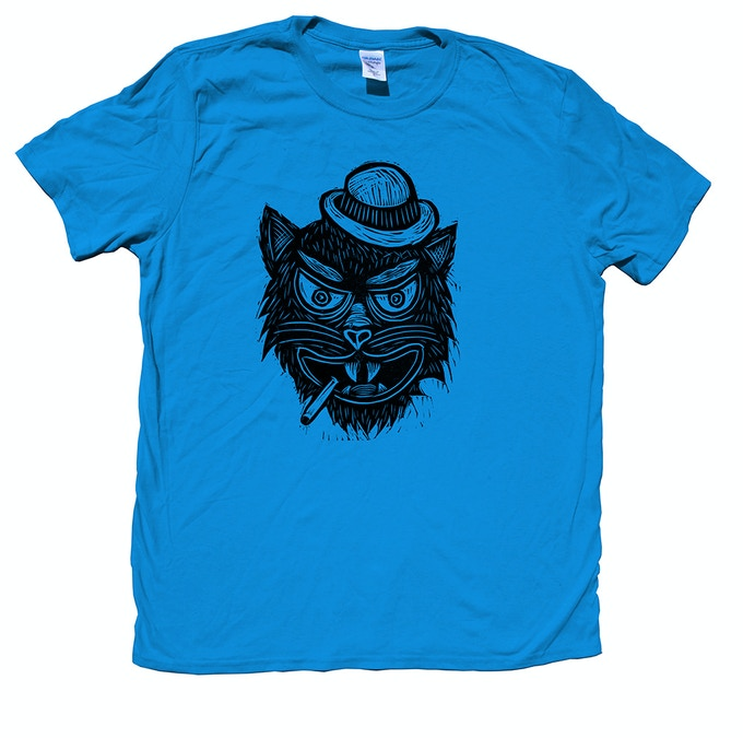 Woodblock Printed T-Shirt Cat