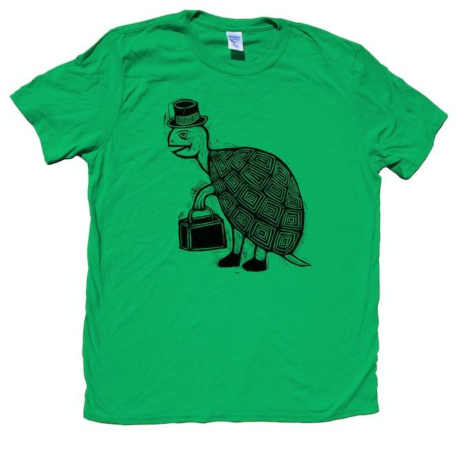 Woodblock Printed T-Shirt Turtle