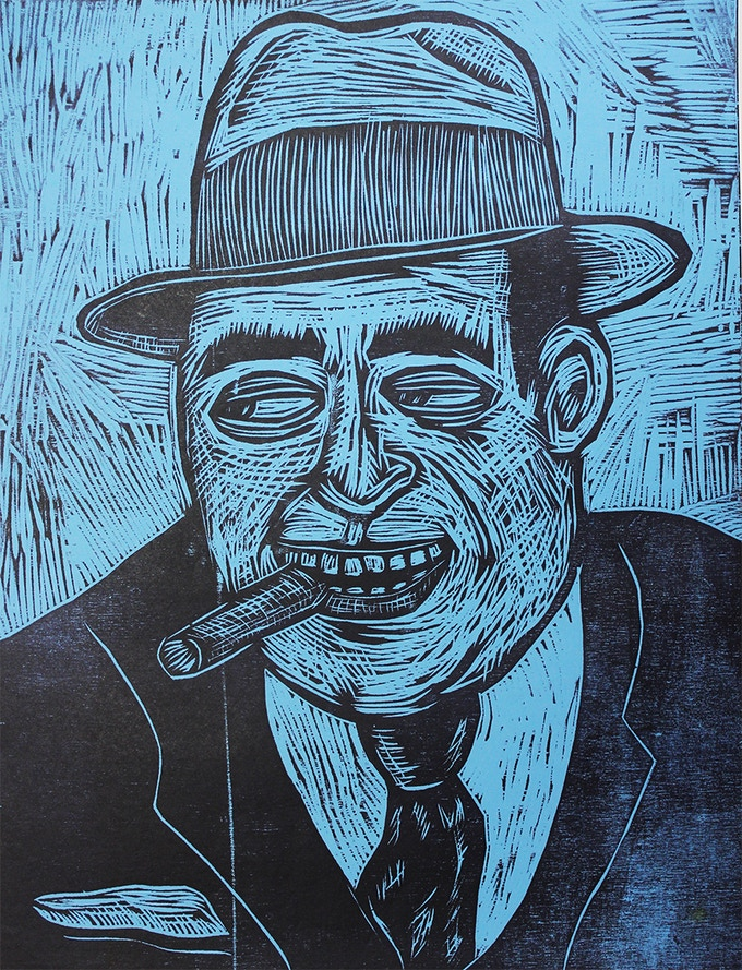 "Al Capone Woodcut 20"" x 15"""