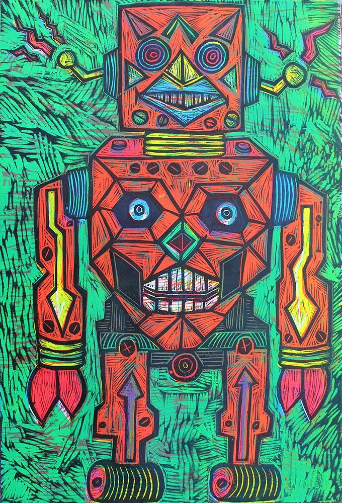 """Robot Color Woodcut 20"""" x30"""