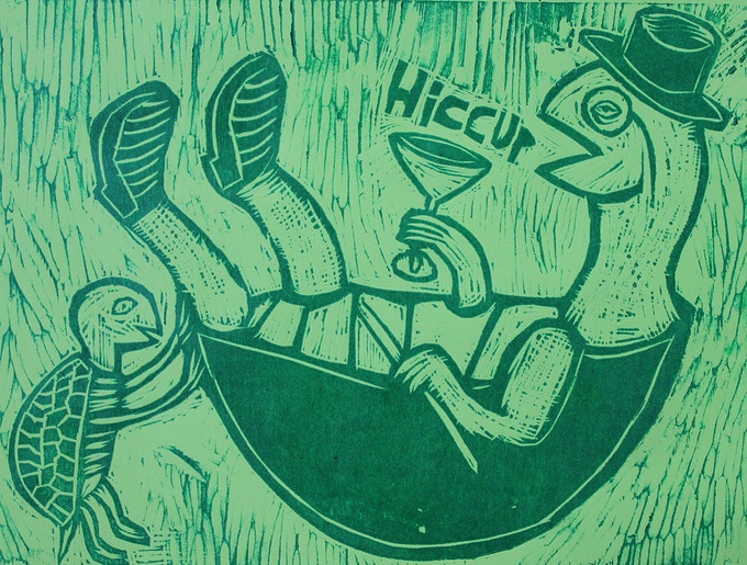 """Tipsey Turtle Woodcut 20"""" x15"""