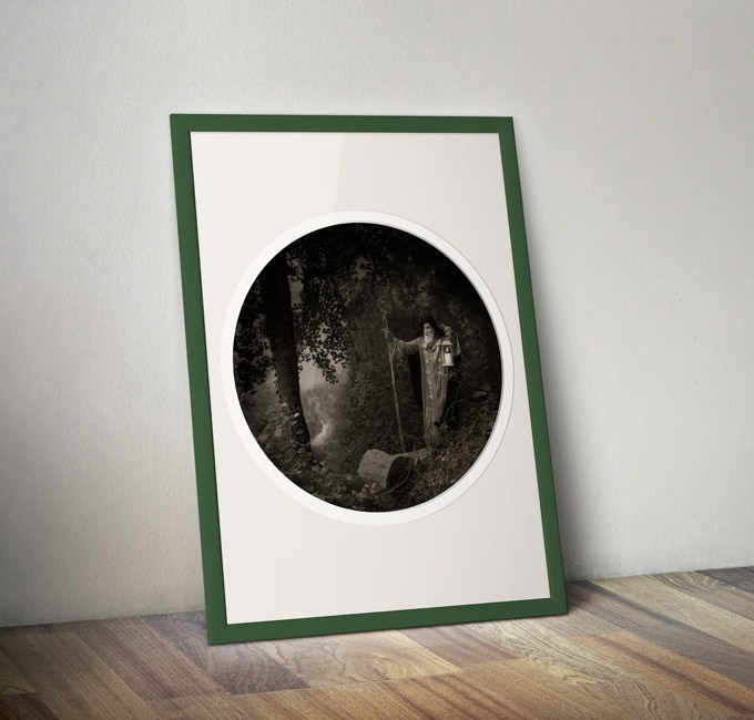 """The 24"""" round printed version of The Hermit (frame NOT included)"""
