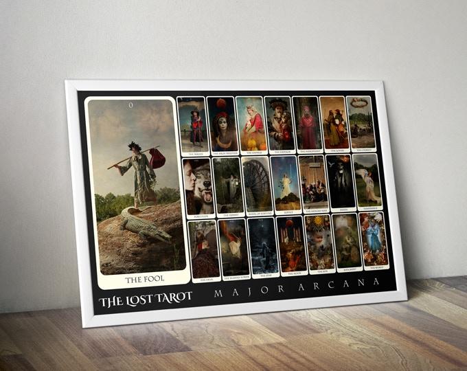 "The Lost Tarot Major Arcana 22-card Spread, fine art poster, 27"" x 40"" (frame NOT included)"