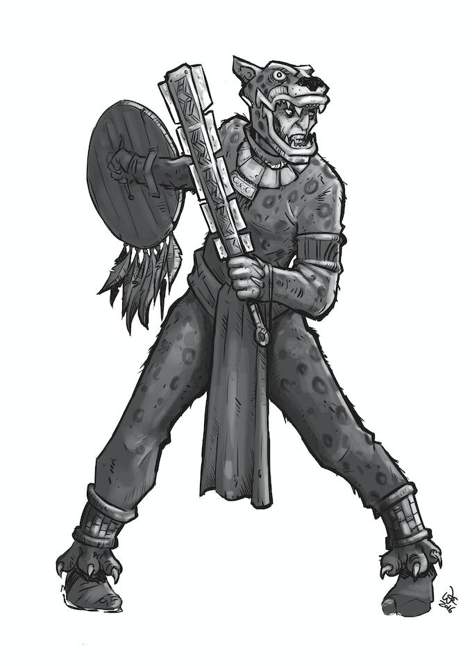 Jaguar Warrior w/ Sword and Shield