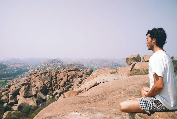 Emilio reflecting in the city of Hampi, India '15