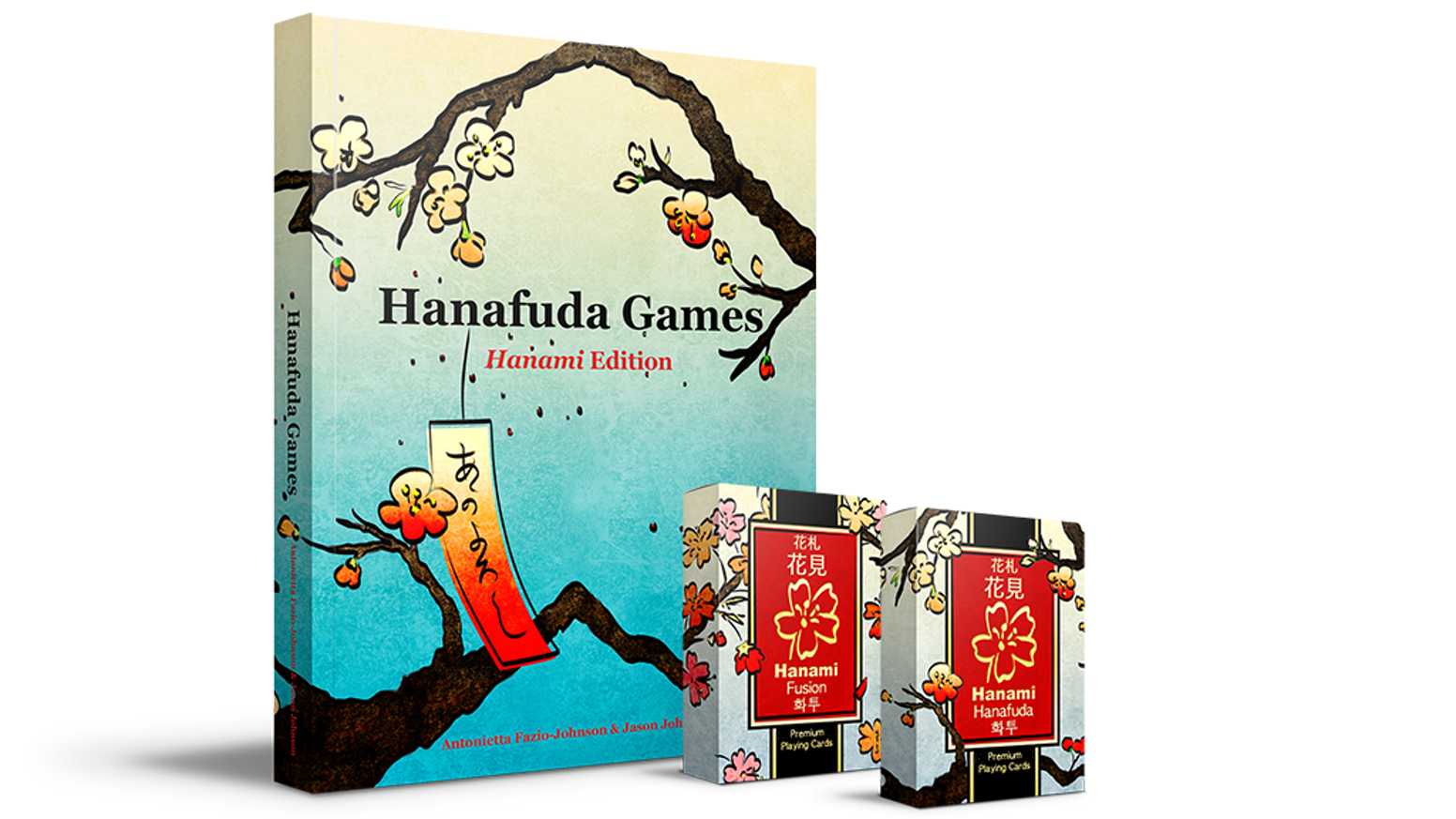 54 uniquely illustrated playing cards. Printed by LPCC. In-depth 250 page 32-game hanafuda rulebook.