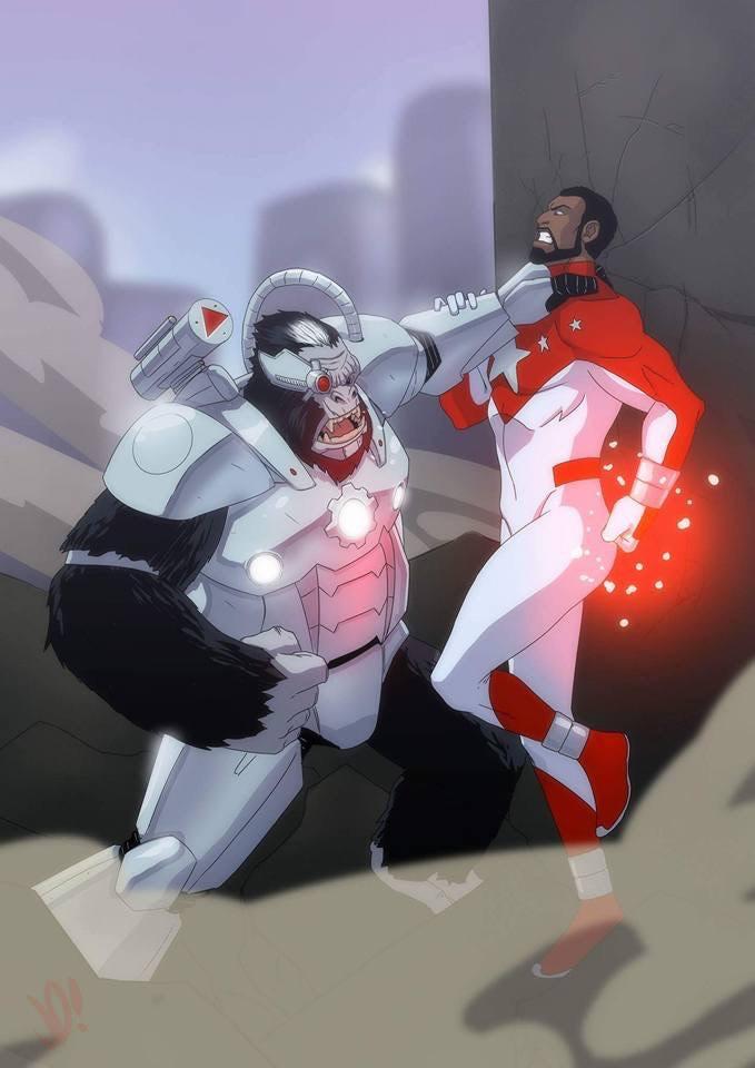 Cyborilla vs Five Star. As seen in The Power Company #1. Art by Joe Davis