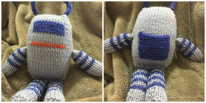 We don't want to be gender essentialist here, but when women knit robots, they add pockets!