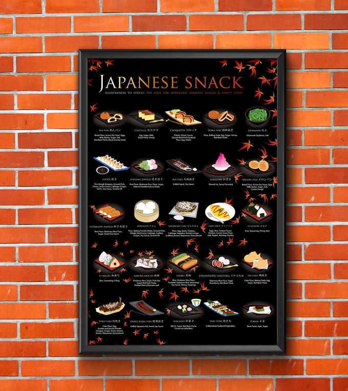 Japanese Snack Poster, Maple Background