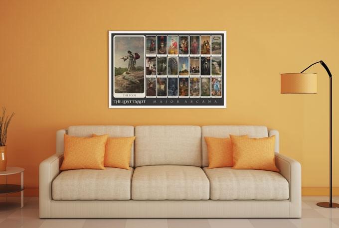 "The Lost Tarot Major Arcana 22-card Spread, fine art poster, 27"" x 40"""