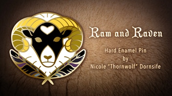Ram and Raven Enamel Pin