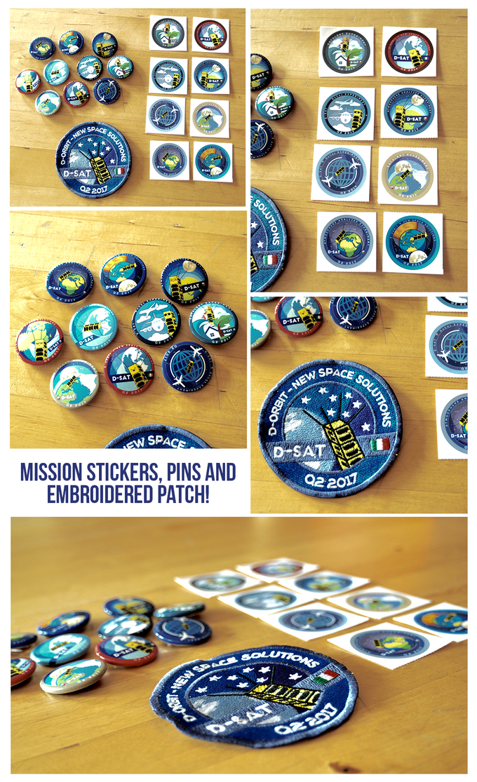 Mission's stickers, pins and embroidered badge, available from the Space Collector level up!