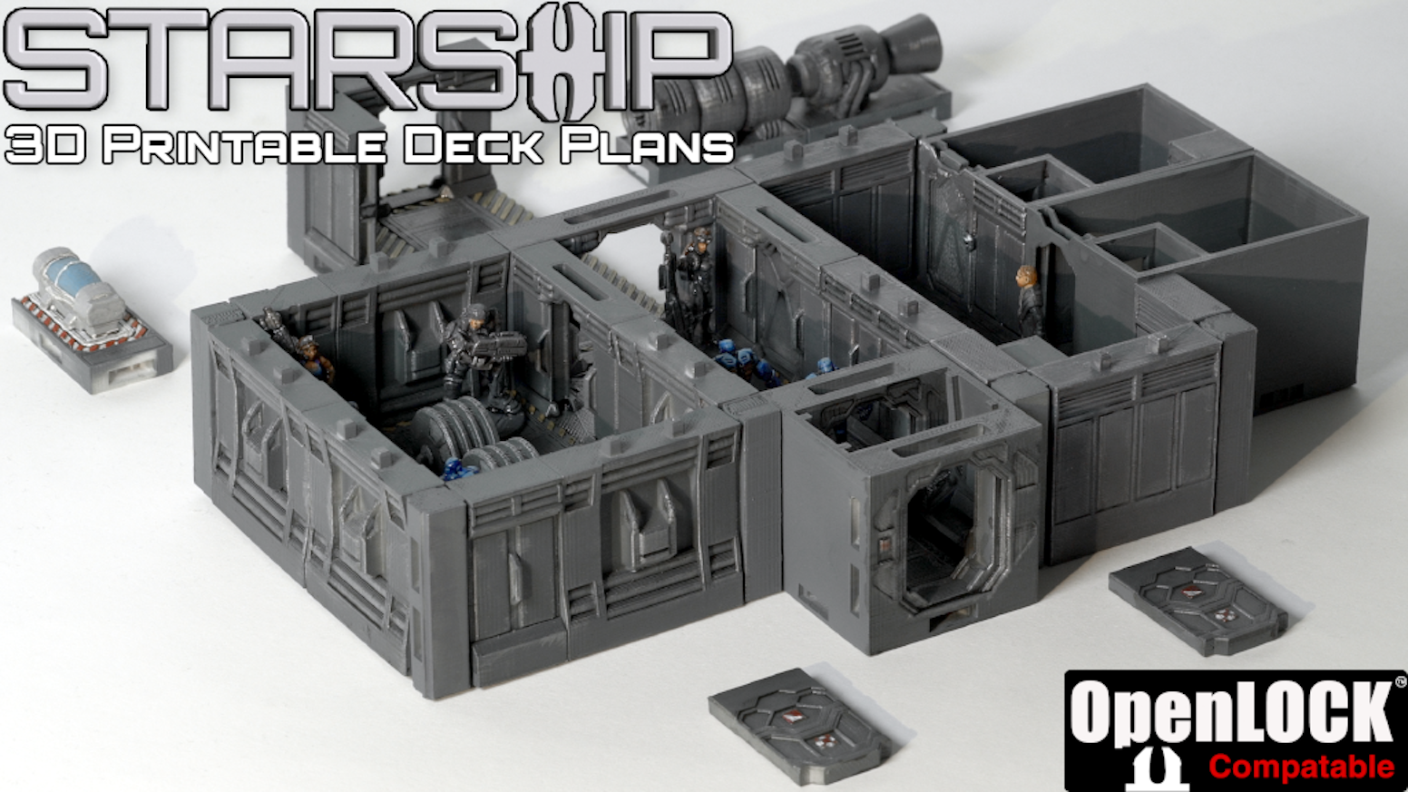 Build your own Starship layout using OpenLOCK-Compatible parts. Ideal for tabletop wargames and RPGs, etc.