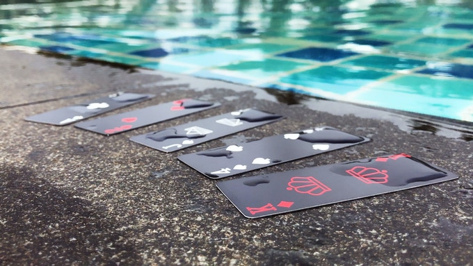 The cards are 100% waterproof, so you can even use them in the pool or the bathtub.
