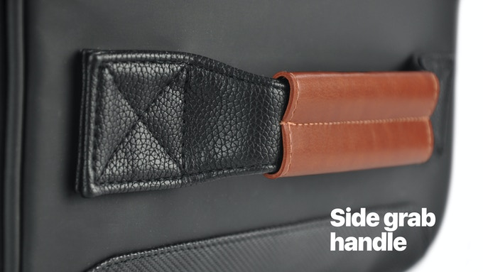 Great for sliding the bag in and out of tight spaces like the car or an overhead compartment.