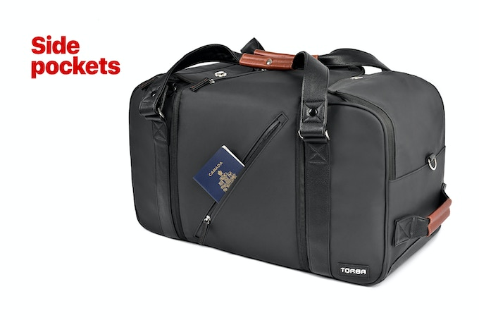 Side pockets provide instant access to quick grab items.