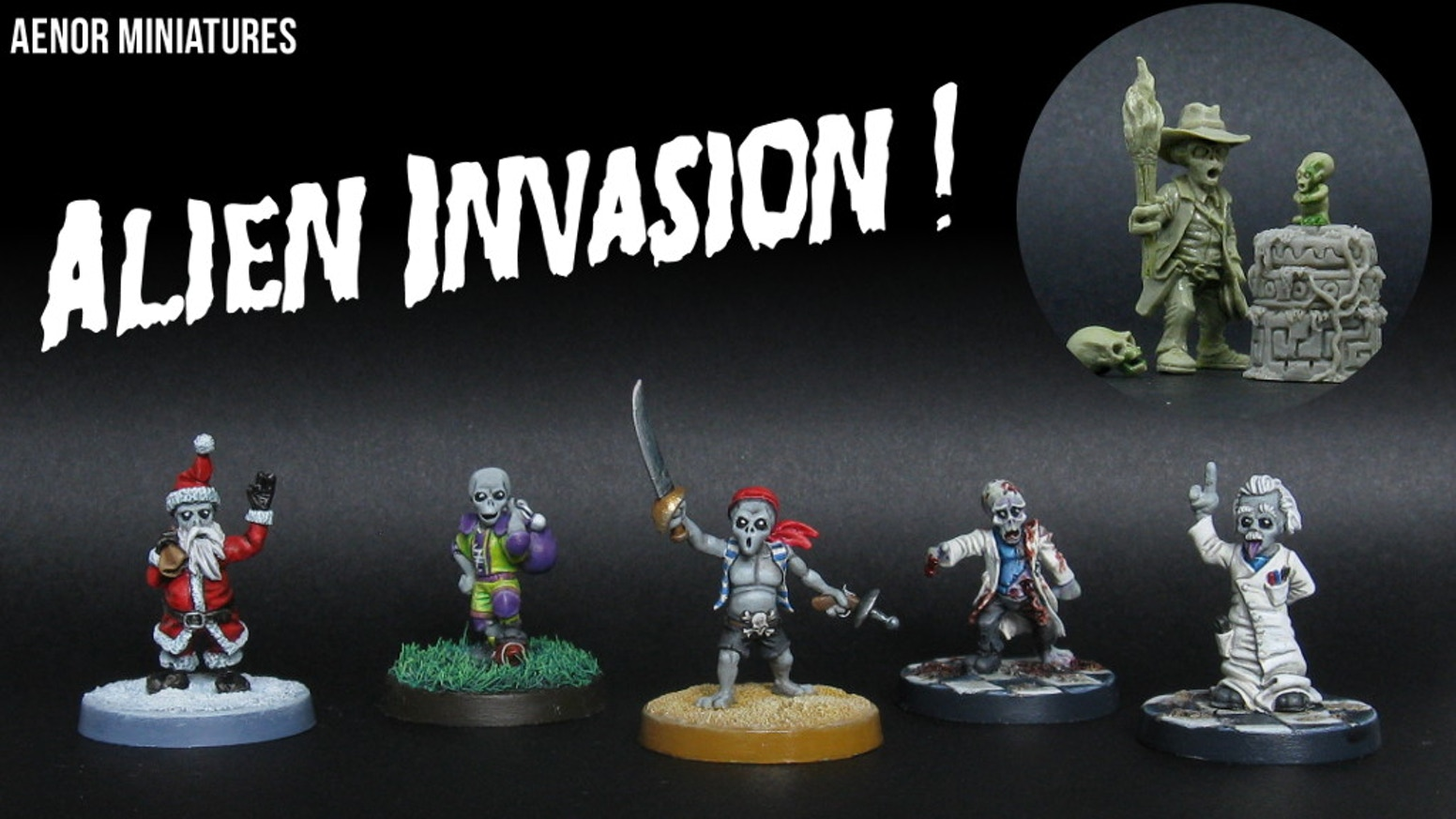5 small grey alien miniatures in various outfits, to collect, paint  or use in your game! These tiny sculptures are cast in metal.