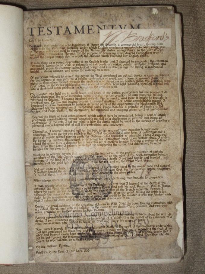 William Bradford's Testamentum, signed 1555
