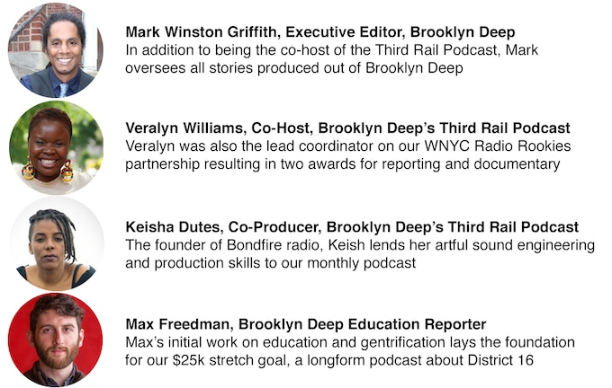 We are also grateful to an extended network of interns, volunteers, and contributing reporters who help make our work at Brooklyn Deep possible.