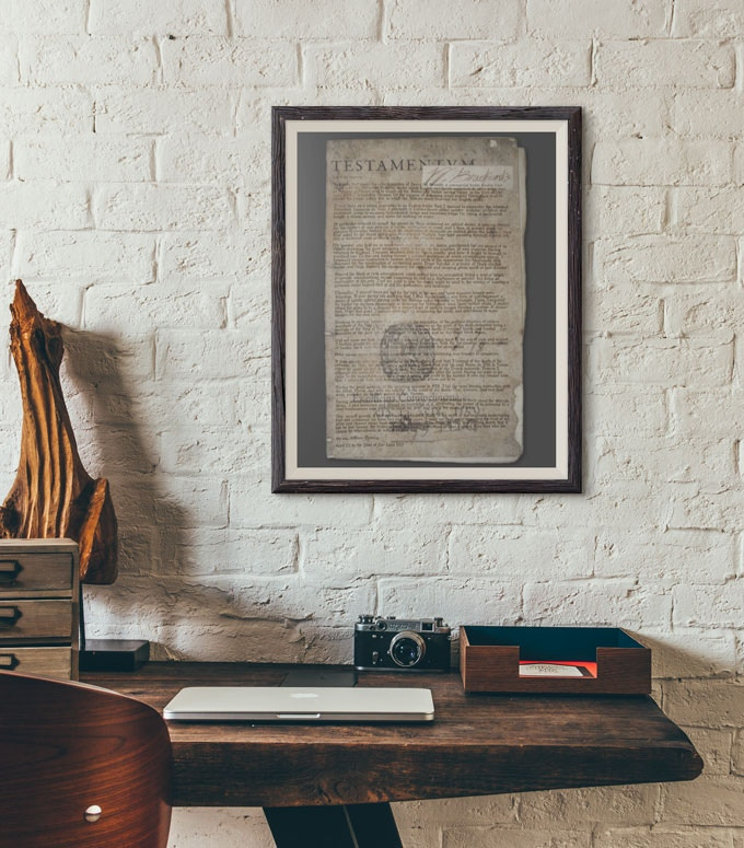 """Scaled-down replica of William Bradford's Testamentum, 11"""" x 17"""", printed on velum paper (frame NOT included)"""