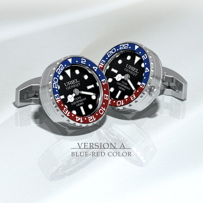Stainless steel case and parts, blue - red aluminium ring with black dial
