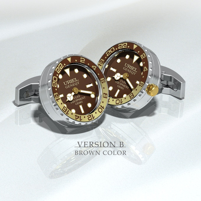 Stainless steel case and parts, gold - brown aluminium ring with brown dial