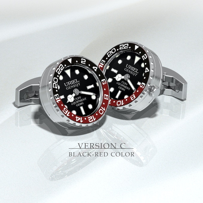 Stainless steel  case and parts, black - red aluminium ring with black dial.