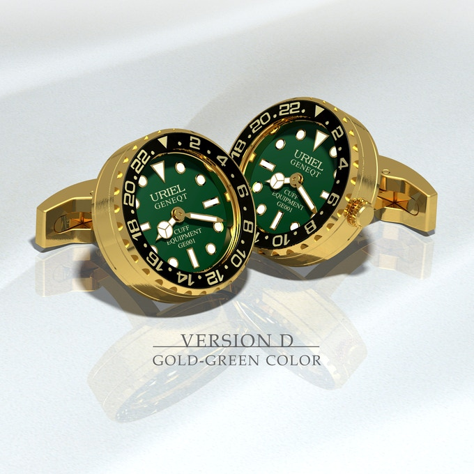Stainless steel  (IP yellow gold) case and parts, black aluminium ring with green dial.