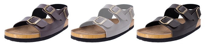 Brown, white and black colors are available for 3-strap unisex sandals