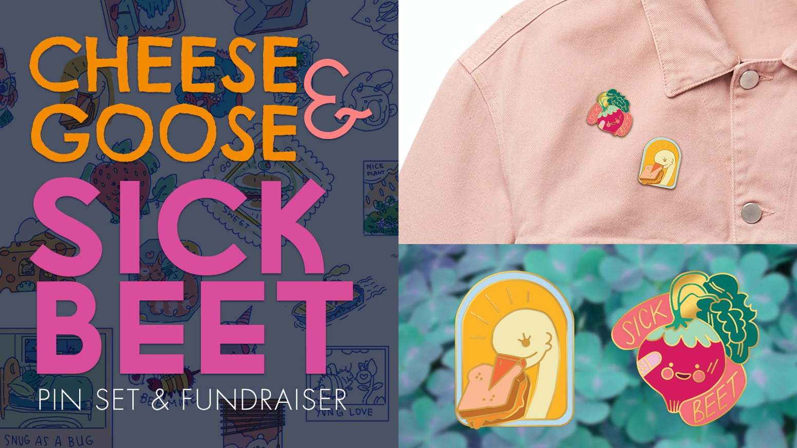 High quality pins for geese who love cheese, and beets who like to DJ.